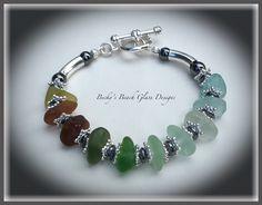 Rainbow Sea Glass Bracelet, $50.00