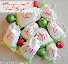 Craft-O-Maniac: DIY Monogrammed Treat Bags- Christmas Gift Idea. No sew & simple!