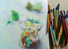 """""""Tea time"""". 2017. Colored pencils/paper Sveta Petleva"""