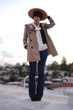 This outfit is amazing. That Bensoni sailor trench is out of this world. And I'm a sucker for bowtie blouses.