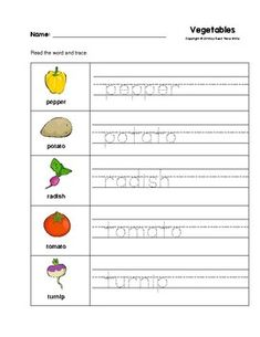 Vegetables Trace the Words Worksheets Preschool/Kindergarten Preschool Writing, Kindergarten Math Worksheets, Tracing Worksheets, Preschool Kindergarten, Worksheets For Kids, Writing Activities, Activities For Kids, Special Education, Success Story
