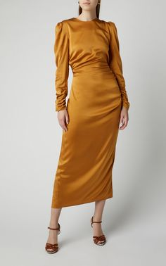 Exclusive Ruched Silk Midi Dress by Zimmermann Muslim Fashion, Modest Fashion, Fashion Dresses, Women's Dresses, Satin Dresses, Bridesmaid Dresses, Classy Outfits, Chic Outfits, Simple Dresses