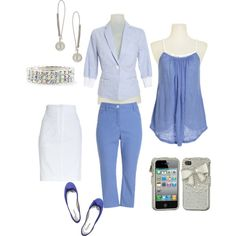 Blueberry Business Casual and Casual Styles, mix and match.  Easily convert a business casual look into a casual column.  The jacket looks polished at work and practical on a chilly night. Created by tbowers324 on Polyvore