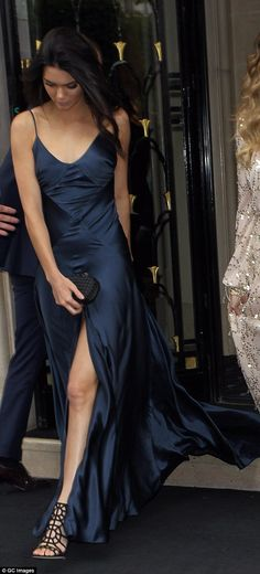 Kendall Jenner navy silk dress (Kim Kardashian's 3rd wedding's Paris dinner)