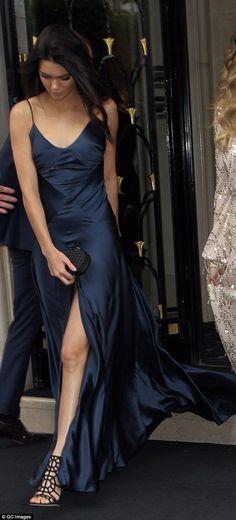 Kendall Jenner navy silk dress (Kim Kardashian's 3rd wedding's Paris dinner)