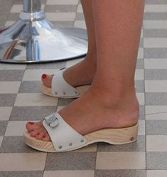 sexy women feet in wood sandals
