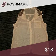 Size Small American Tag Shirt Adorable shirt, NWT!! It's a sheer, pink/peach color with a sequined collar! Would look adorable dressed up or dressed down. American Rag Tops