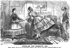Caricature showing a lady scolding her maid for wearing a crinoline. Punch, 1862.