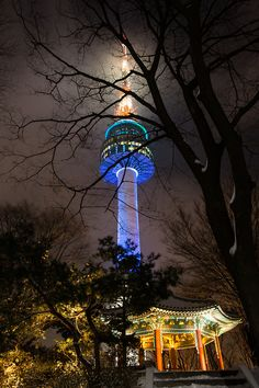 Namsan tower in Seoul, South Korea. Beautiful view and a wall of love locks. <3