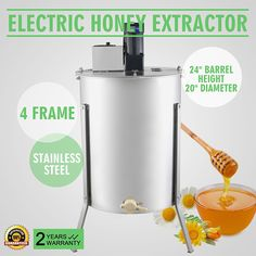 OrangeA Honey Extractor Bee Honey Extractor Electric Honeycomb Spinner 2 Two Frame Stainless Steel Beekeeping Accessory Frame Electric Honey Extractor)