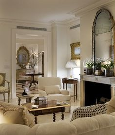 Living Room. Fireplace. Mirror.