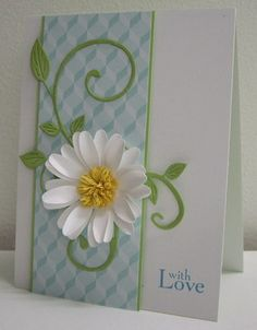 flower card...gorgeous daisy with fluffy white petals and a fringy yellow center...