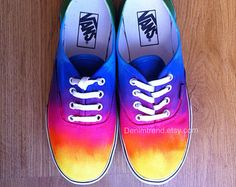 Custom Shoes & Custom T Shirt by Blinglogo . Choose one of unique Custom Converse, Nike or Vans Shoes from lots of designs on Blinglogo Shoes & Tees Tie Dye Vans, Tie Dye Shoes, How To Dye Shoes, Dyed Shoes, Crazy Shoes, Me Too Shoes, Rainbow Vans, Rainbow Colors, Cute Vans