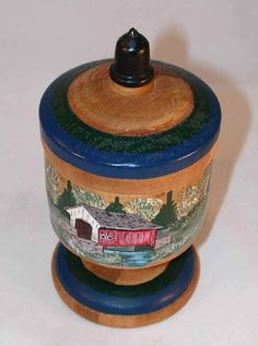 Contemporary Turned Wood Hand Painted & Signed Covered Saffron Cup Colorful Grist Mill, Covered Bridge Farm House & Red Barn