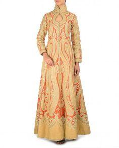 Beige and Orange Jacket with Zari and Gota Work - Women's Ethnic Wear - Women - Designer