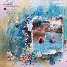Summer beach vacation mixed media scrapbook layout by @scrappinready