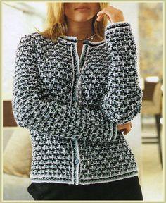 Жакет - ленивый жаккард. Обсуждение на LiveInternet - Российский Сервис Онлайн-Дневников Gilet Crochet, Crochet Coat, Tunisian Crochet, Crochet Cardigan, Crochet Clothes, Knit Jacket, Knit Fashion, Cardigans For Women, Mantel
