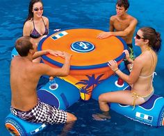 Buy Floating Aqua Table- WOW Sports-Fitness & Sports-Scuba & Swimming-Inflatables & Pool Toys at Wish - Shopping Made Fun Objet Wtf, Floating Table, Floating Water, Floating Cooler, Floating Lounge, Inflatable Pool Toys, Water Toys, Cool Inventions, Lake Life