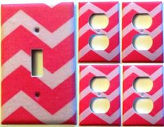 Pink Chevron Light Switch Outlet Cover Set 1&4 Girl Decorative Bedroom Decor