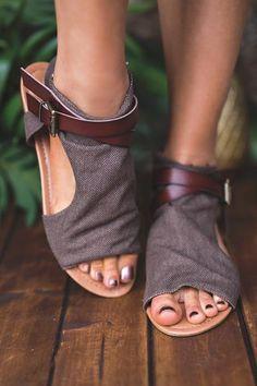 Walk And Talk Buckle Strap Detail Sandal (Brown)