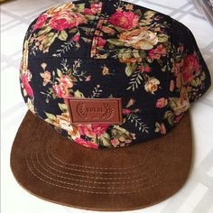 Floral and leather snapback