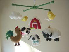 "Baby crib mobile, Farm mobile, animal mobile ""Barnyard 3"" - Rooster, Sheep, Cow, Sheepdog, Horse, Chicks"