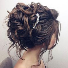 ❤️I know U a half/half style, but I think because your hair is shorter, a very soft, updo like this would really work. There is a lot of curled strands hanging down that gives U that a half down effect!! It's an easier style for your stylist to accomplish!!❤️ Beautiful updo wedding hairstyle for long hair