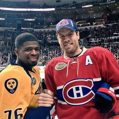 """So it looks like The Nashville Predators traded Shea Weber and P.K Subban for round pick and 2 Uber eat drivers. Montreal Canadiens, Hockey Games, Ice Hockey, Shea Weber, Nfl Highlights, Wayne Gretzky, Hockey Players, Hockey Goalie, Iconic Photos"