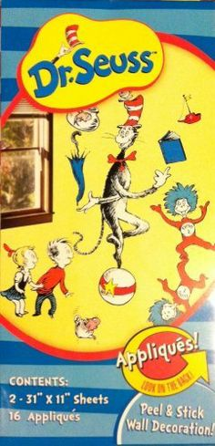 """Dr. Seuss Wall Appliques by Dr. Seuss. $25.00. 16 Appliques. 2 - 31"""" x 11"""" Sheets. Dr. Seuss Peel & Stick Wall Decorations  Slowly peel appliques from sheet. Position, stick, and smooth onto surface. To remove or reposition, carefully peel off surface."""