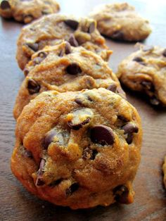 Pumpkin Chocolate Chip Cookies. Made this with fresh pumpkin, cookies are DELICIOUS but are super soft, more like a cake.