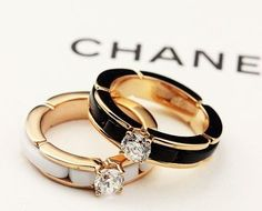 Gorgeous Chanel rings in white and black ⓟinterest:@AudHolmes #FineJewelry #gorgeousjewelryrings
