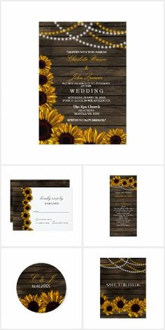 Rustic Country Sunflowers WEDDING SET COLLECTION String Twinkle Lights Barn Wood Pretty Personalized Wedding Set Sunflowers Invites Announcements Invitations Save The Date Stickers Labels Menu Address Labels RSVP Thank You Cards & More!