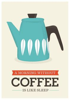 Coffee print, Art for kitchen, coffee poster, kitchen art, quote print, Cathrineholm poster, Mid century modern  A3. $21.00, via Etsy.