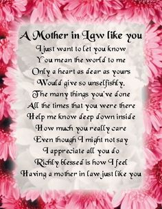 Fridge Magnet -  Mother in Law  Poem -  Pink Floral  Design + FREE GIFT BOX