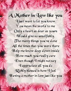 Fridge Magnet -  Mother in Law  Poem -  Pink Floral  Design + FREE GIFT BOX