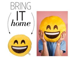 """""""Bring It Home: Smiling Eyes Emoji Pillow"""" by polyvore-editorial ❤ liked on Polyvore featuring interior, interiors, interior design, home, home decor, interior decorating and bringithome"""