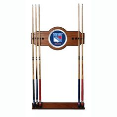 Trademark Commerce NHL6000-NYR NHL New York Rangers 2 piece Wood and Mirror Wall Cue Rack