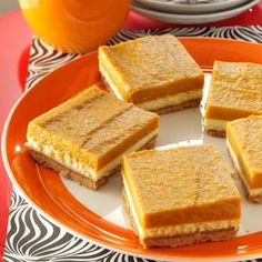 Pumpkin Dessert Bars Recipe Graham Crackers, Cream Cheese, Eggs, Pumpkin, Unflavored Gelatin