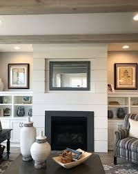 Portentous Cool Ideas: Fireplace And Tv Home Theaters rock fireplace.Tall Fireplace With Tv Above inbuilt wood fireplace.Fireplace And Mantels Log Burner. Shiplap Fireplace, Farmhouse Fireplace, Home Fireplace, Fireplace Remodel, Fireplace Surrounds, Fireplace Design, Fireplace Ideas, Fireplace Makeovers, Fireplace Shelves