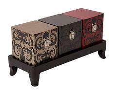 Set de 3 cajas con bandeja en madera DM