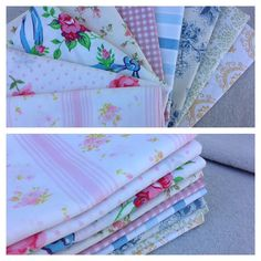 at Quarter Bundle- Reclaimed Bed Linen fabric -Shabby Chic