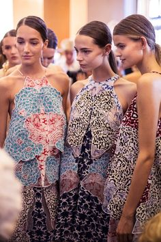 Abstracted koi fish prints backstage at Stella McCartney SS15 PFW. More images here: http://www.dazeddigital.com/fashion/article/21993/1/stella-mccartney-ss15