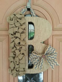 LARGE Monogram Door Hanger with Twine by DoodleBugHomeDecor