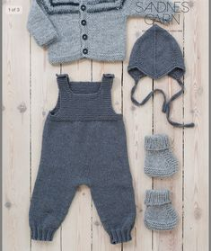 Next Previous Baby overall in Sandnesgarn Duo. The other items in the picture are also available in the booklet but are to be listed separately on Ravelry. Next Previous Nr 7 Sparkebukse pattern by Sandnes Design erkek bebek gri füme örgü takım Source Baby Knitting Patterns, Baby Boy Knitting, Knitting For Kids, Baby Patterns, Free Knitting, Baby Dungarees, Baby Jumpsuit, Baby Dress, Baby Pullover