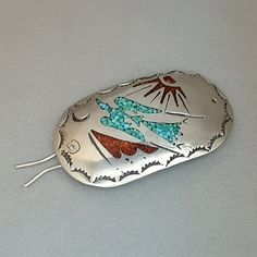 An Exceptional Artist Signed W. Nezzie Vintage Native American Solid Sterling Silver Hair Barrette Clip designed as a Ponytail Holder and Bun Clip,