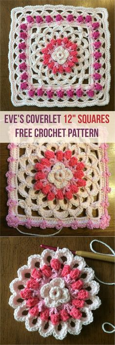 Eve's Coverlet 12″ Squares Crochet Afghan – Free Pattern by Curly Crochet Gal #crochet #freepattern #crochetlove #square #motif