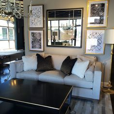 These black and gold embroidered pillows are a great contrast to this light @bakerfurniture sofa in our black and white grouping. @classichomefurnishings #blackandwhite #gold #VillaHome #BakerFurniture #livingroom #WestendInteriors #InteriorDesign #InteriorDecor #WestVista