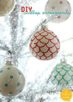 Create your own patterned ornaments with plain ornaments and a paint pen! #12days72ideas #IBCholiday