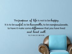 "Ralph Waldo Emerson Quote Inspirational Motivational Wall Decal Home Décor ""The Purpose of Life"" 42x12 Inches"