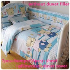 Discount! 6/7pcs Baby Bedding Sets Baby Crib Sheet With 100% Cotton Filling Newborn Quilt Cover  ,120*60/120*70cm